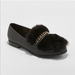 A New Day Faux Leather Fur black Loafers